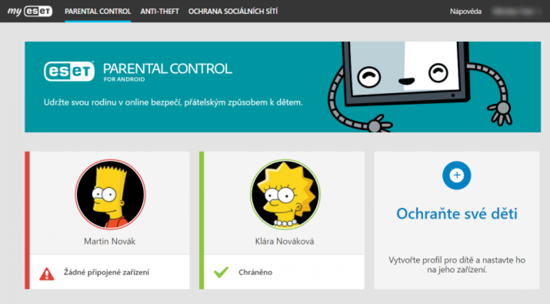 ESET Parental Control pro Android screen